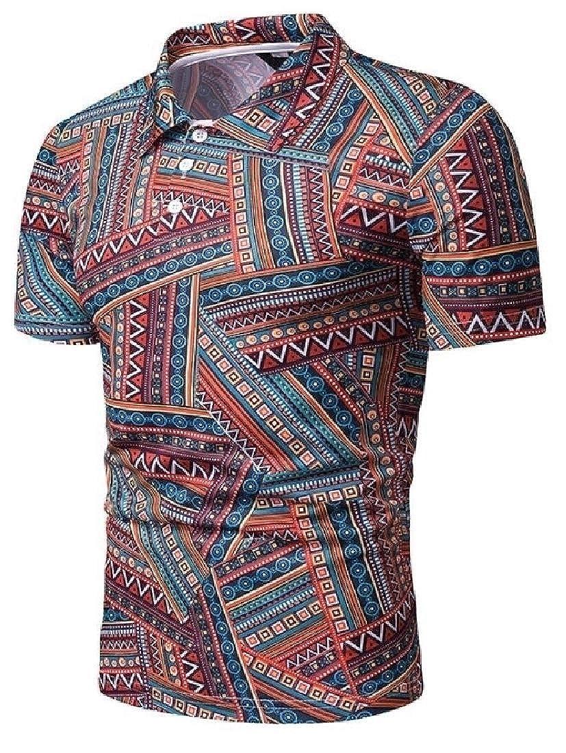 WSPLYSPJY Mens Beach Fashion Slim Fit Ethnic Patterns Short Sleeve Polo Shirt