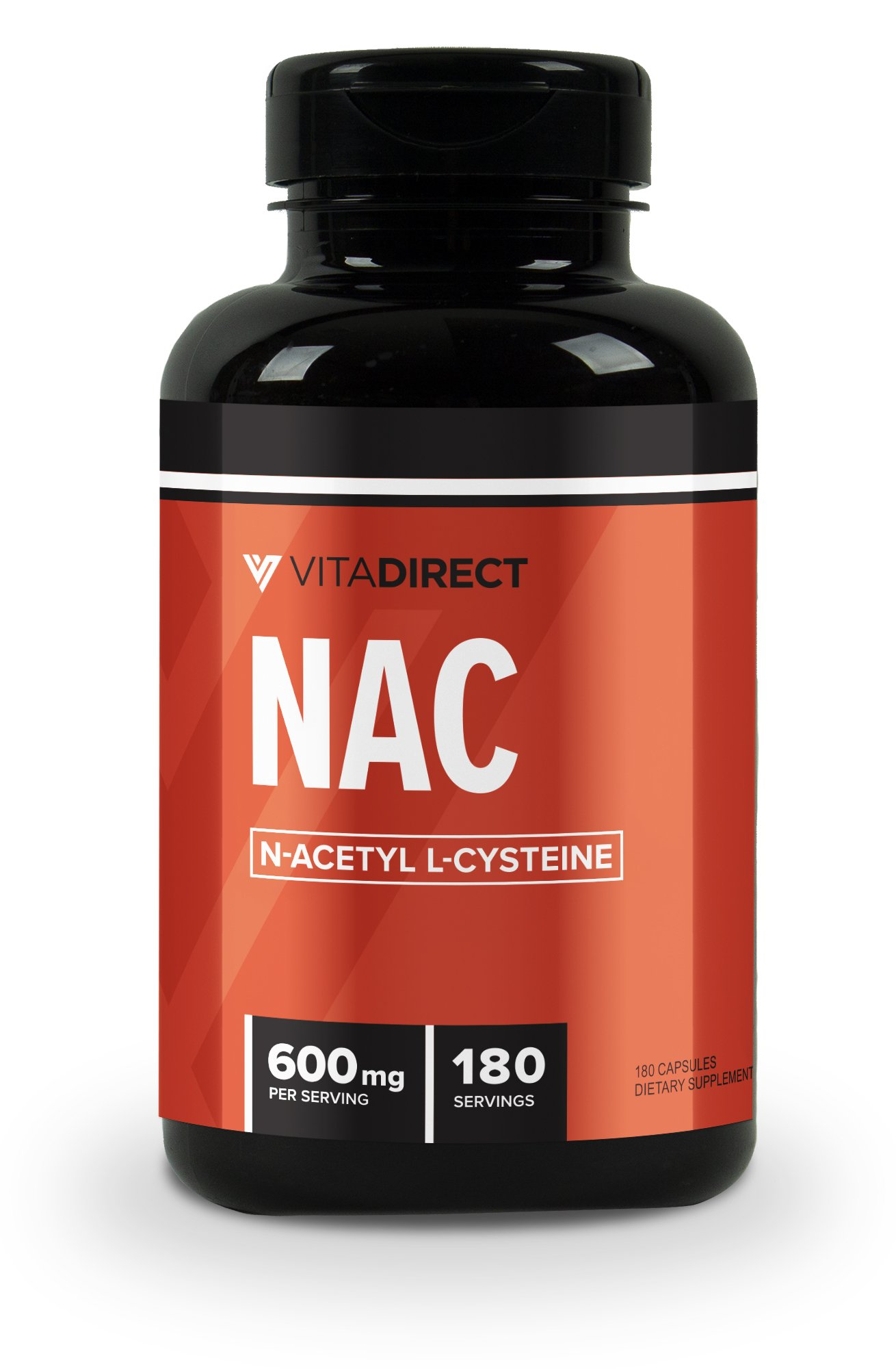 Vitadirect N-Acetyl L-Cysteine (NAC) 600 mg, 120 Vegetarian Capsules, Gluten Free and Non-GMO