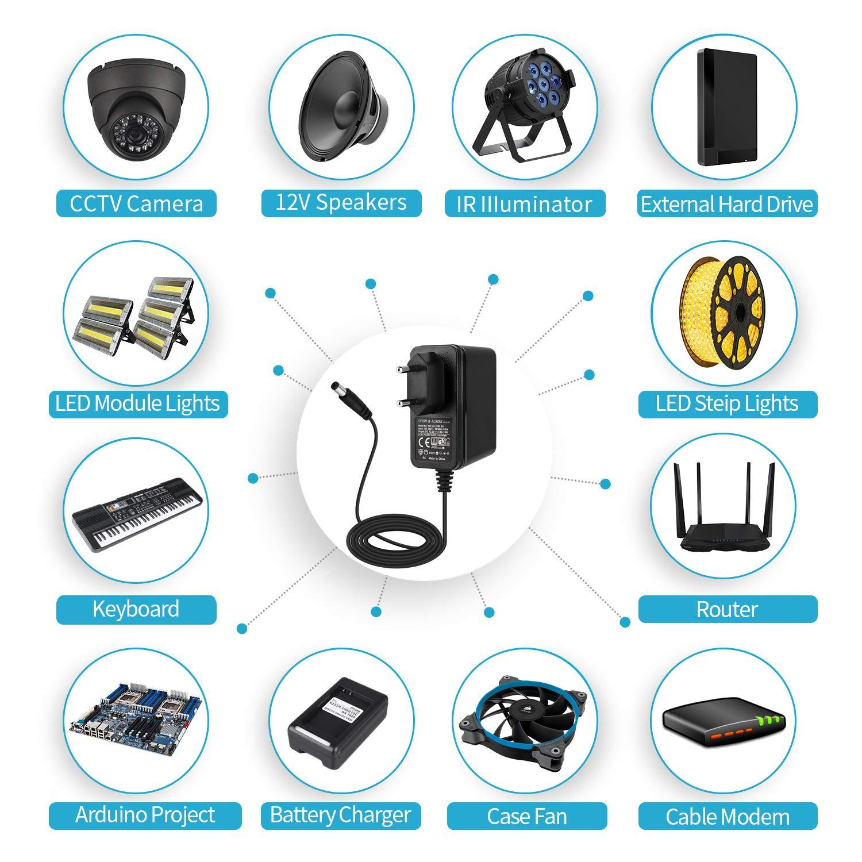 Cordon Chargeur,pour Cam/éra D/ôme//Bullet de S/écurit/é et Beaucoup dautres Composants /électroniques Courants 1000mA EFISH CCTV 12V 1A Chargeur Adaptateur Alimentation,100-240V AC /à 12V DC 1Amp
