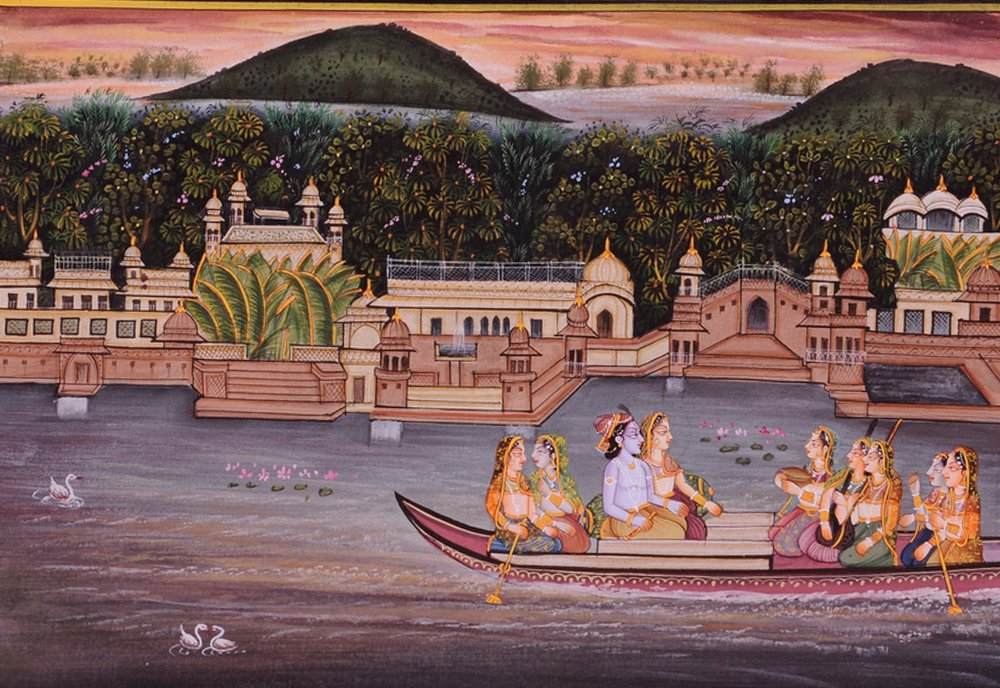 Krishna Radha Painting : Indian Hindu Religious God Goddess Lively to Decor Your Home Hotel Office Bedroom Lobby or Living Room by Handmade (Image #5)