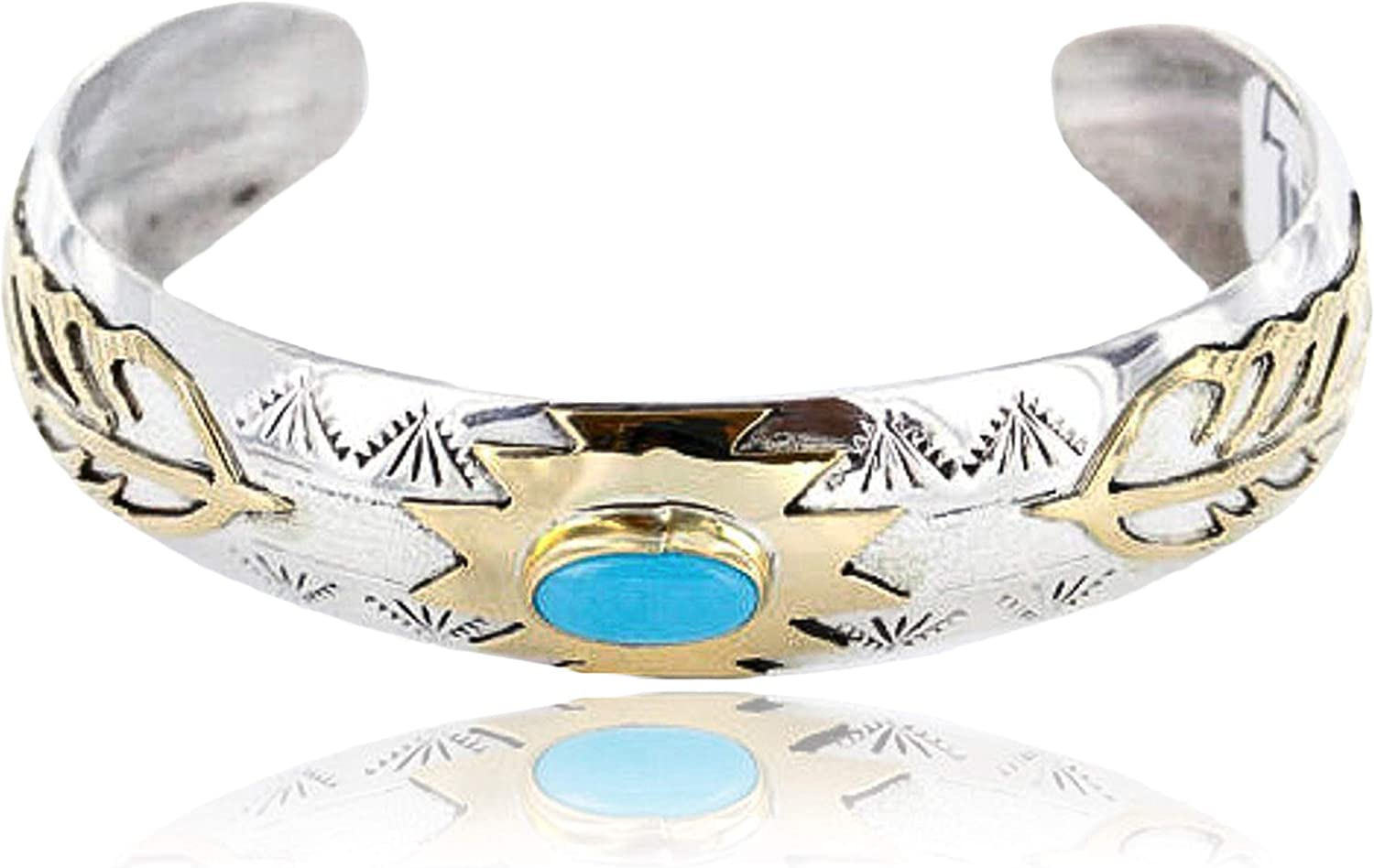 $480Tag 12ktGF Silver Feather Certified Navajo Turquoise Native Bracelet 390812961164 Made by Loma Siiva 71R-5RboaHLUL1500_