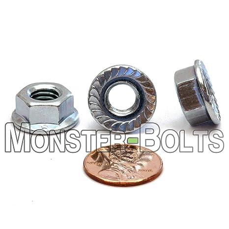 100 M10-1.5 Metric Hex Flange All Metal Lock Nut Class 10 DIN 6927 Zinc Plate