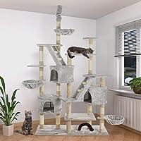 Happypet Kratzbaum Katzenbaum deckenhoch höhenverstellbar 260cm Sisalstamm 8cm Farbwahl