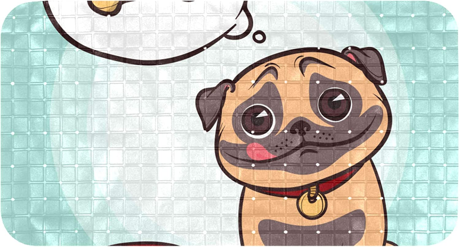 Lilibeely Bathtub Non-Slip Mat Baby Bath Tub Mat Anti-Slip with Suction Cups Hungry Pug Thinking About Food Bathroom Tubs Massage Shower Mat