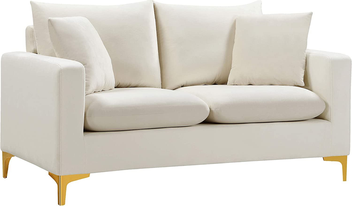 Meridian Furniture Naomi Collection Modern   Contemporary Velvet Upholstered Loveseat with Stainless Steel Base in a Rich Gold or Chrome Finish, 58