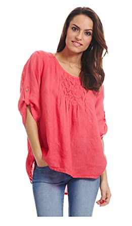 Couleur Lin Long Sleeve top ARAUSIO Coral Women at Amazon Women\'s ...