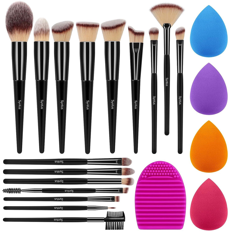 Syntus Makeup Brush Set, 16 Makeup Brushes & 4 Blender Sponges & 1 Brush Cleaner Premium Synthetic Foundation Powder Kabuki Blush Concealer Eye Shadow Pure Black Makeup Brush Kit