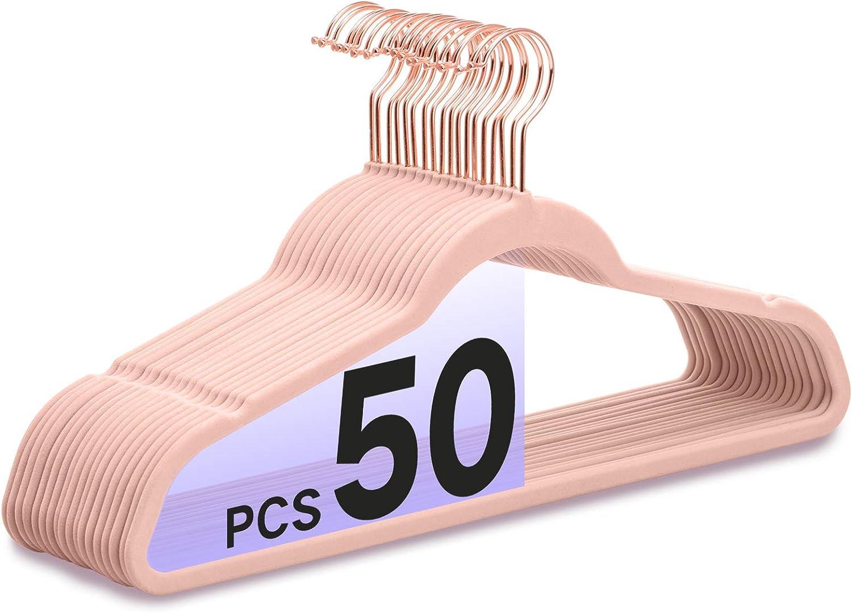 Premium Velvet Hangers HeavyDuty - Non Slip Sturdy Suit Hangers- Rose Gold Swivel Hooks - Felt Hangers-Space Saving Clothes Hangers 50 Pack for Skirts Coats (Blush Pink/Rose)