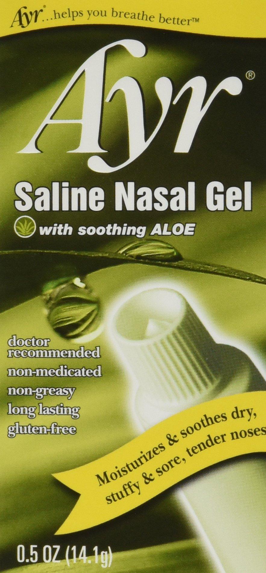 Ayr Saline Nasal Gel, With Soothing Aloe, 0.5 Ounce Tube (Pack of 3)