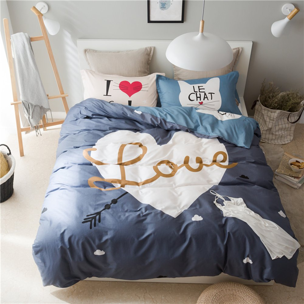 Mumgo 100% Home Bedding Sets I Love Cat & Love Duvet Cover Set with Personality Pillowcase-Not Include Comforter (Full/Queen Size-4 Piece, Flat Sheet)