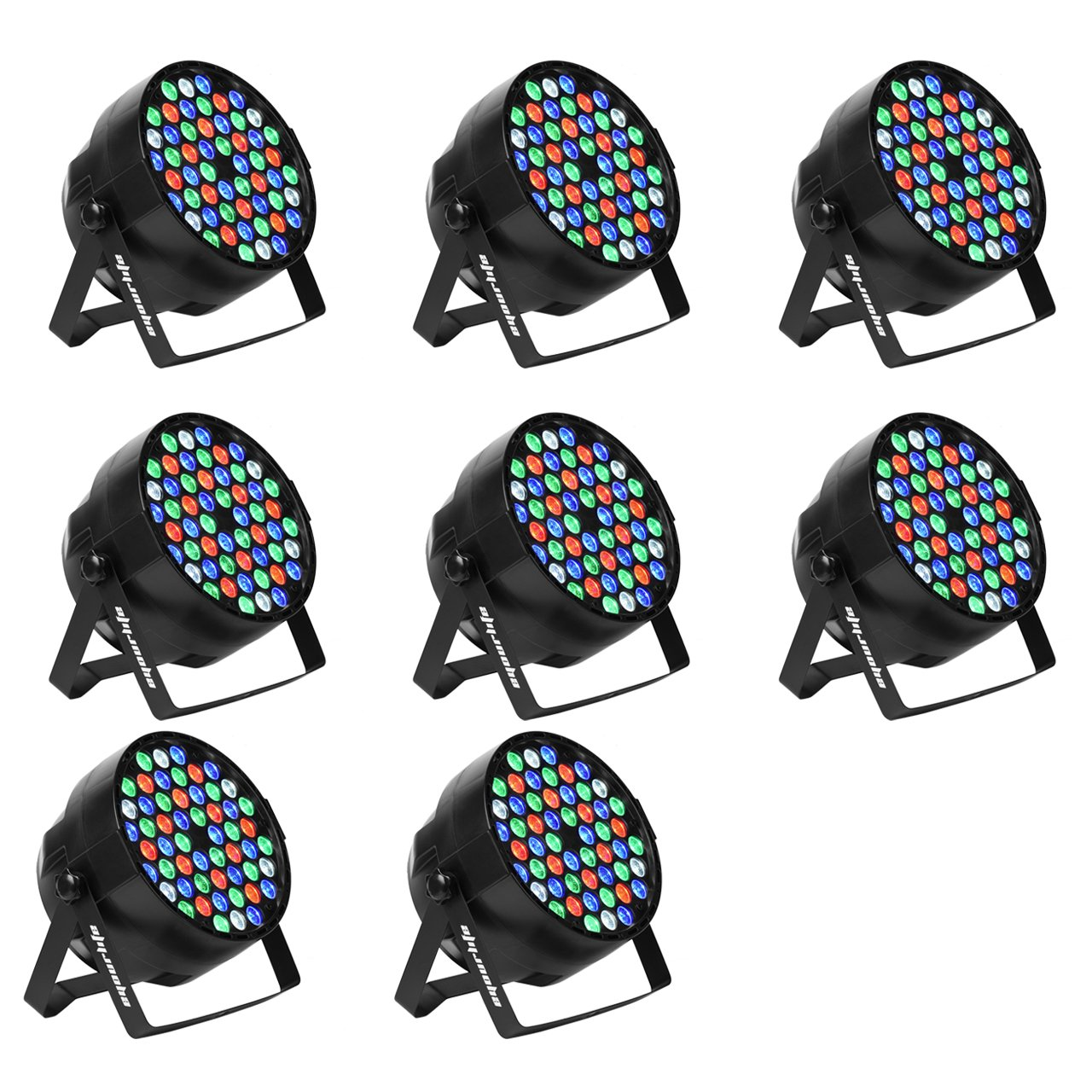Eyourlife LED Stage Lights 8pcs 54X3W LED DJ PAR Light RGBW 162Watt DMX 512 Stage Lighting Disco Projector for Home Wedding Party Church Concert Dance Floor Lighting by Eyourlife