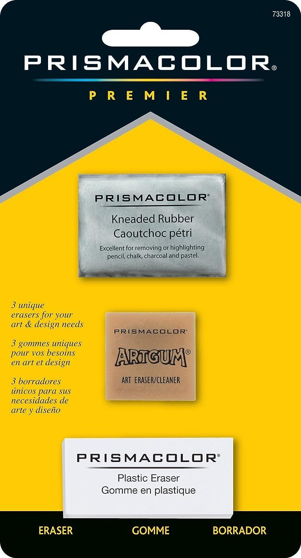 PRISMACOLOR DESIGN Eraser, Multi-Pack Erasers, 3-Carded, Assorted (73318) Art Gum Newell Rubbermaid Office