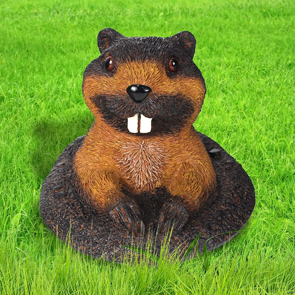Groundhog Outdoor Statue Garden Decoration, Funny Marmot Figurines for Outdoor Garden Yard Decor ( 7 Inches Tall)