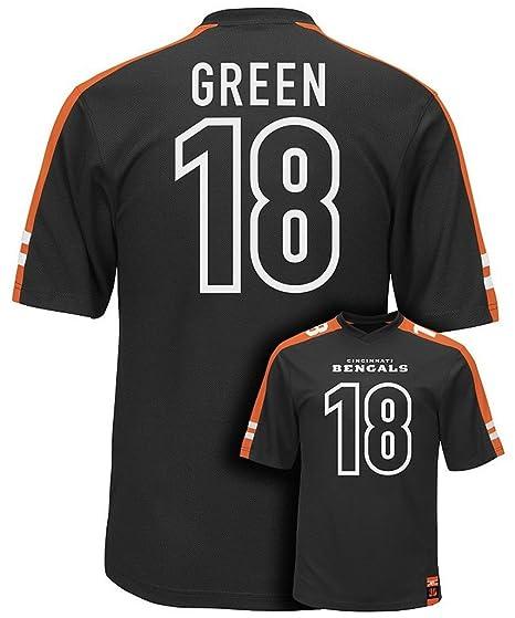quality design 581c7 5f9c2 Majestic AJ Green #18 Cincinnati Bengals NFL Mens Hashmark Jersey Black Big  & Tall Sizes