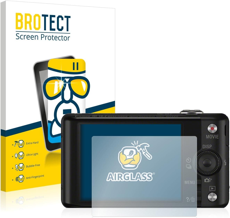 AirGlass 9H H/ärte BROTECT Panzerglas Schutzfolie kompatibel mit Sony Cyber-Shot DSC-WX220 HD-Clear Anti-Fingerprint