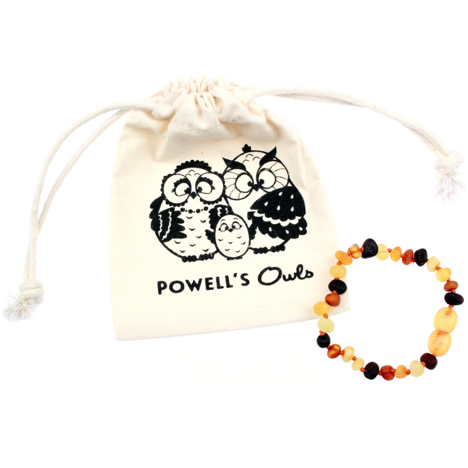 Baltic Amber Teething Bracelet / Teething Anklet For Babies, Toddlers & Kids (Unisex, Raw Unpolished Multicolor, 5.5) Lab-Tested, 100% Certified Natural Baltic Amber - Natural Teething Pain Relief 5.5) Lab-Tested Powell's Owls