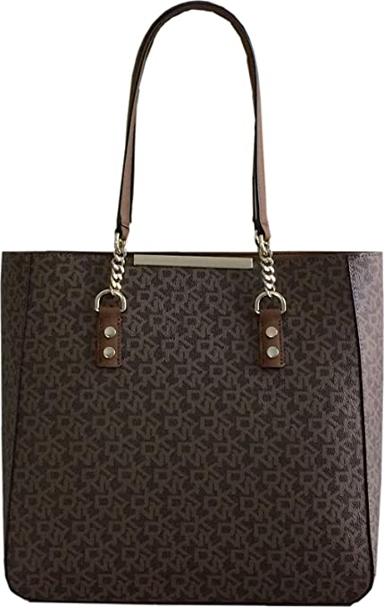 2aea45e21d8b0 DKNY Coated Logo Large Open Shoulder Tote Bag with Leather and Chain Handles