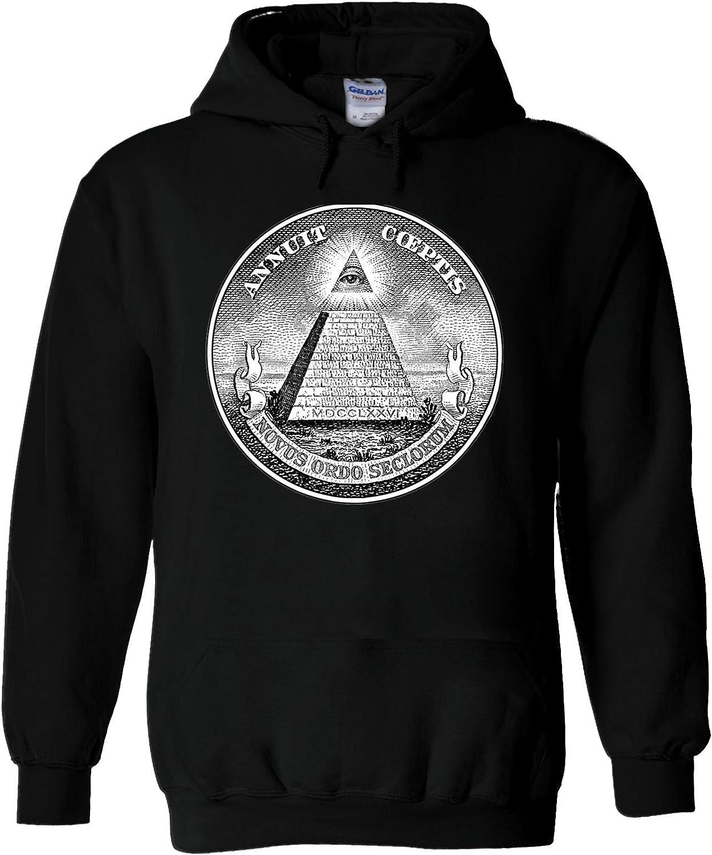 Illuminati Mason Masonic Dollar Pyramid White Men Women Unisex Hooded Sweatshirt Hoodie