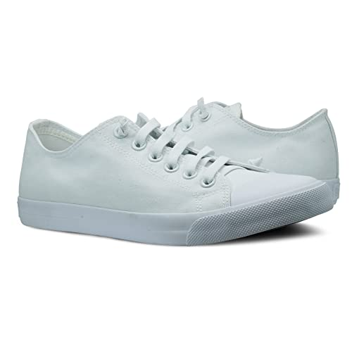 5659b4a61f6 Burnetie Men s White Canvas Ox Low top Sneaker 8 ...