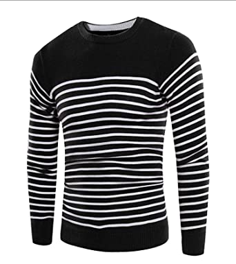53cccce562 Shining4U Men s Striped Long Sleeve Pullover Sweater at Amazon Men s ...