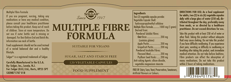 Solgar Fórmula de Fibra Múltiple Cápsulas vegetales - Envase de 120: Amazon.es: Salud y cuidado personal