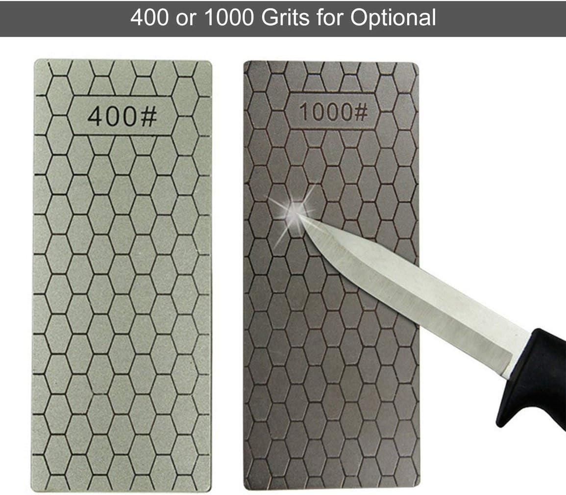 400 Granos Sairis 400//1000 Granos Cuchillos de Piedra de afilar de Diamante Fino Placa de Diamante Afilador de Cuchillos de Piedra de afilar Afilador de Cuchillas Herramientas de bru/ñido-Gris