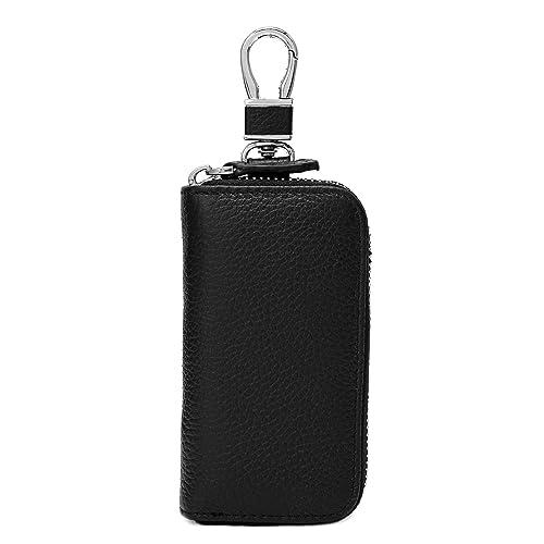 Women s Genuine Leather Zipper Key Case Car Key Holder 6 Hook Key Wallet  (Black) 97ae028d83