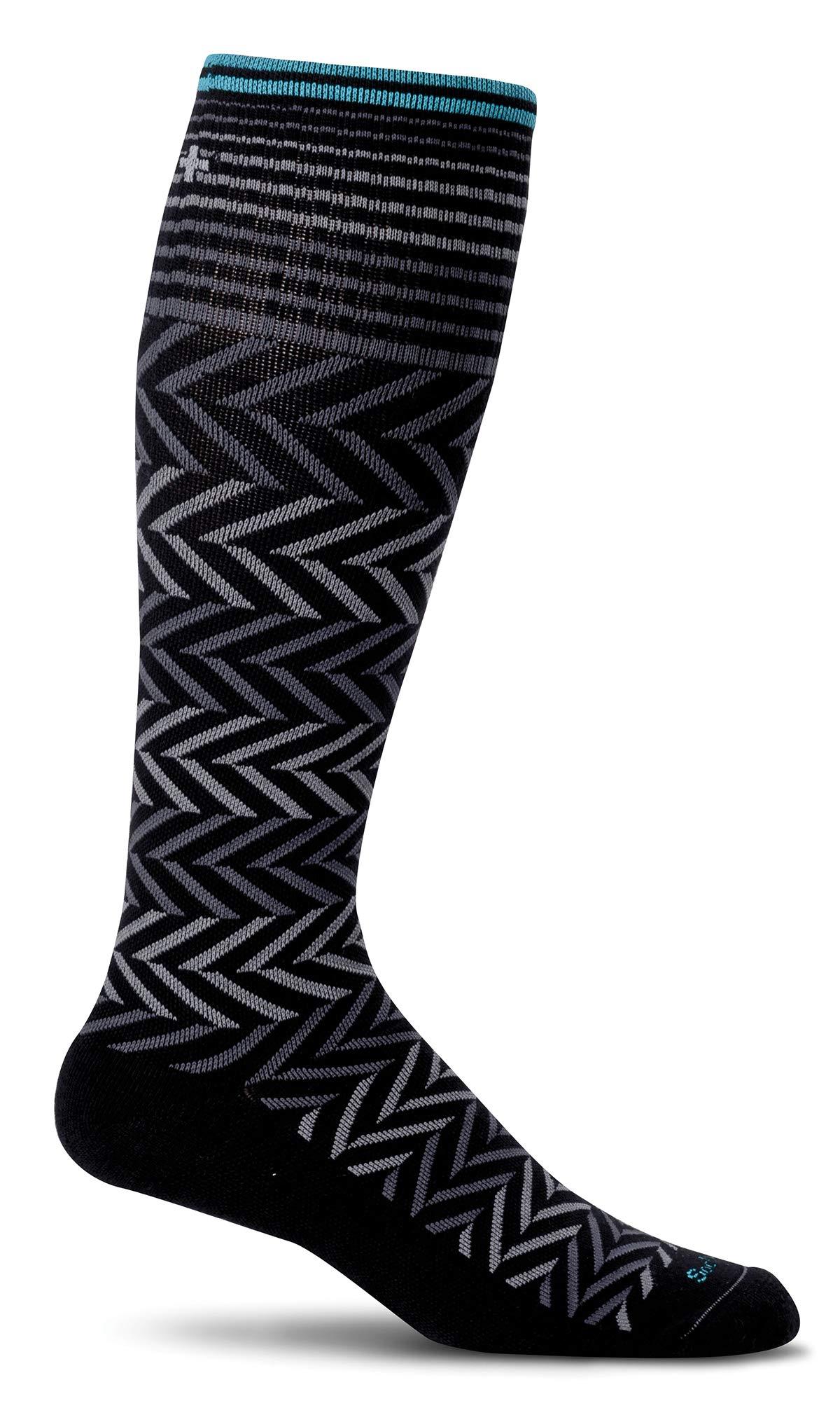 Sockwell Women's Chevron Graduated Compression Socks, Black, Small/Medium by Sockwell