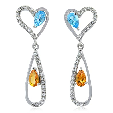 df9197523 Image Unavailable. Image not available for. Color: 14K White Gold Citrine  and Blue Topaz Pave Diamond Heart Dangle Earrings