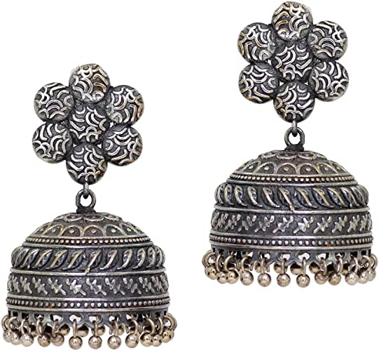 Amazon Com Jaipur Mart Indian Bollywood Gold Silver Oxidized Light Weight Flower Shaped Dangle Jhumki Earrings For Women S Indian Toys Games