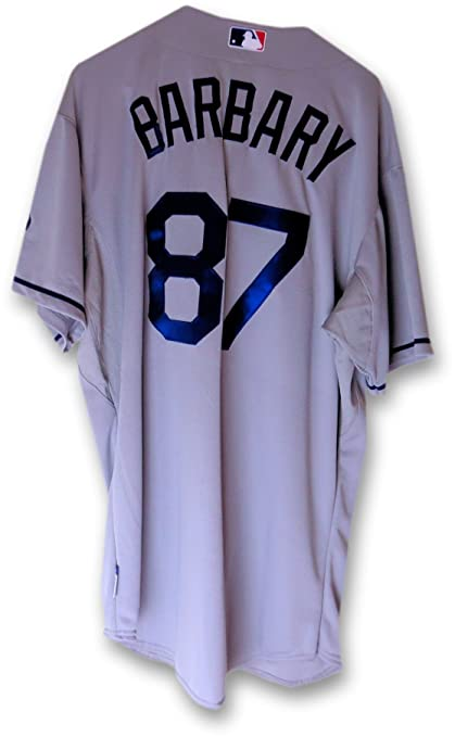 new arrival 873b7 78bff Travis Barbary Team Issue Jersey Los Angeles Dodgers Road ...