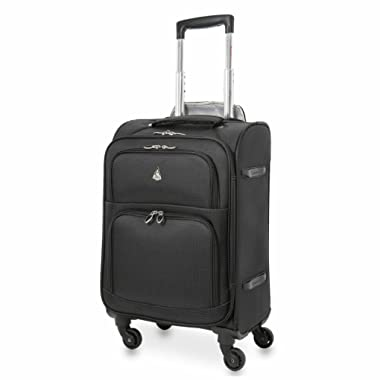 Aerolite American, United & Delta Airlines MAX Size Ultra Light 4 Wheel Spinner Hand Cabin Carry On Luggage Suitcase 22x14x9 - Also Fits Southwest and Many More! Black