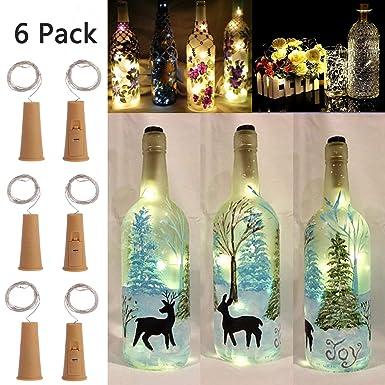 3 modos regulables inteligentes de botellas de vino con corcho, 6 unidades de 10 luces LED de cuerda de cobre para bricolaje, fiesta, decoración, ...