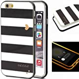 6S Case,iPhone 6S Case,XYX [Black and white striped heart] 2 in 1 Hybrid Transparent Pattern PC Hard Back Cover Plastic Case Cover for Apple iPhone 6 6S