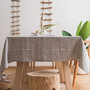 "Chizoya Heavy Duty Cotton Linen Tablecloth for Rectangular Tables Solid Embroidery Lattice Table Cloth for Kitchen Dinning Tabletop Decoration (52""x86"", Gray)"
