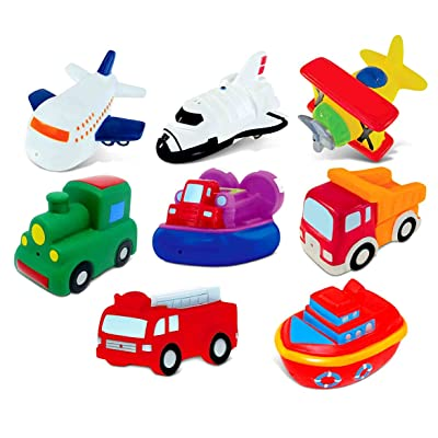 Dollibu Bath Buddies Vehicles Rubber Squirter Toys - Boats, Ships, Fire Truck, Train, Space Shuttle - 3 inch - for Baths, Pool, Outdoor - Baby Bathtime Learning (8pc Set): Toys & Games