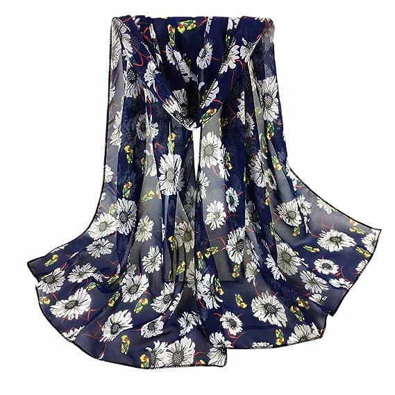94e07abc0af HITSAN INCORPORATION Long Soft Scarf Chiffon Slik Printing Wrap Shawl Stole  Ladies Pashmina Scarves Hijab Popular Echarpe Navy  Amazon.in  Clothing    ...