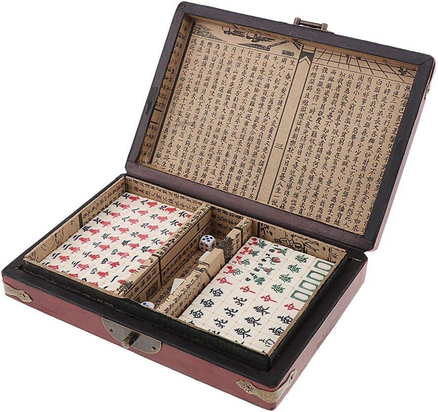 NON Sharplace Juego de Mesa Chino Antiguo en Miniatura 144 Mahjong en Caja de Madera Vintage Regalos: Amazon.es: Juguetes y juegos