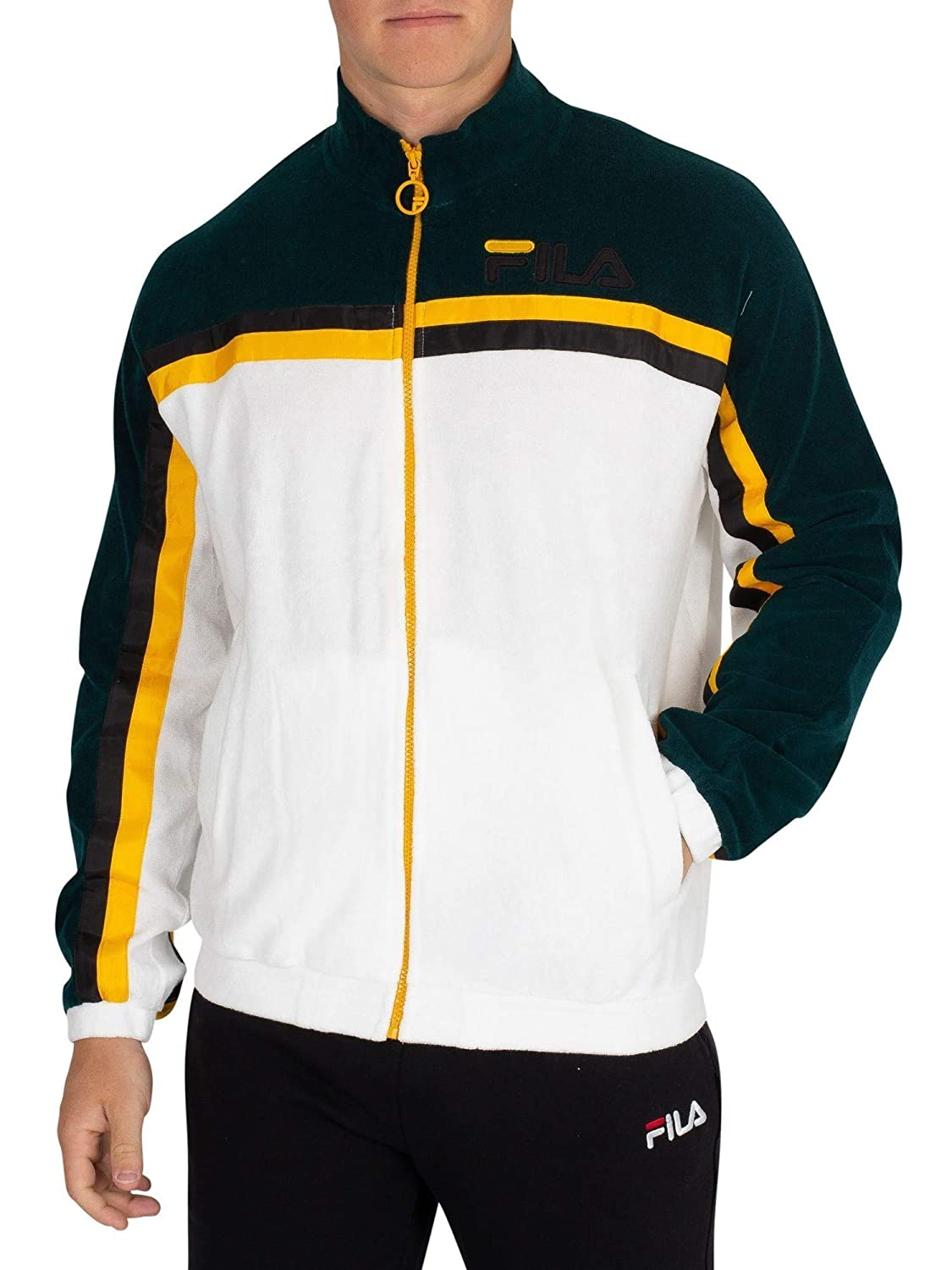 Fila Vintage Men's Ethan Terry Towelling Track Jacket, White