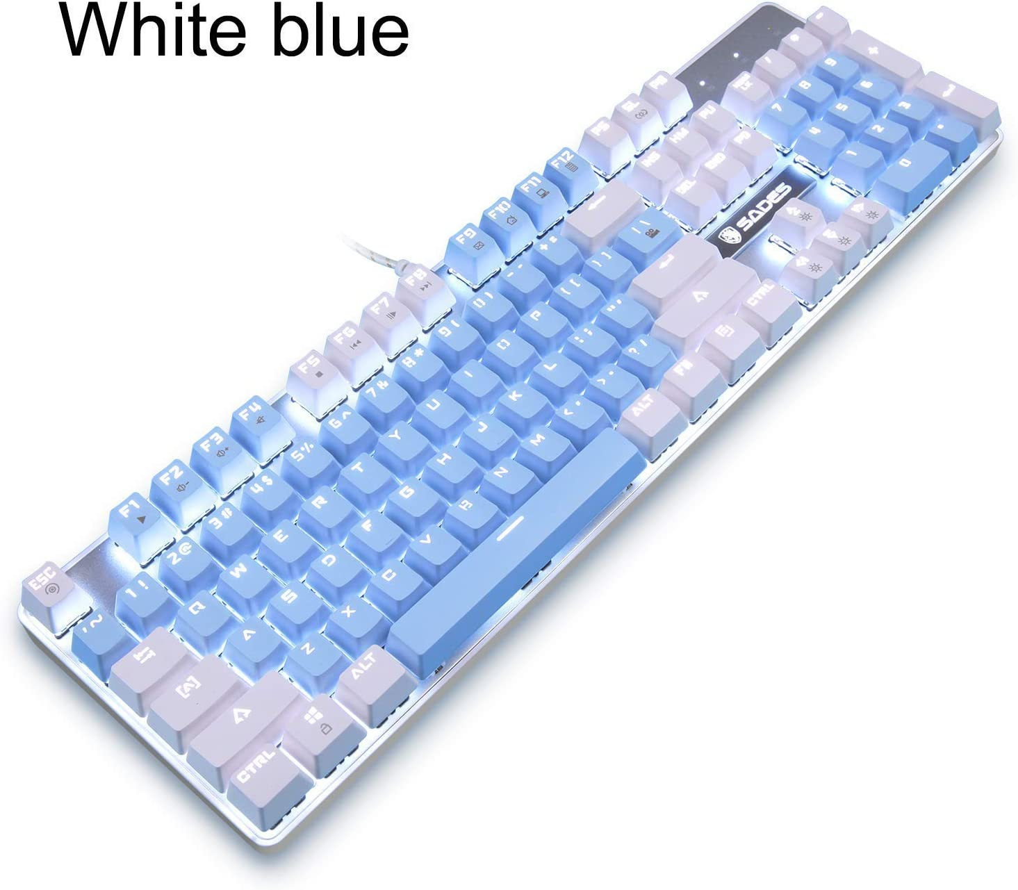 Mechanical Gaming Keyboard,SADES Blue Switches 104 Keys Mechanical Gaming Keyboard,Wired USB White LED Backlit Computer Keyboard,Cute Mechanical Gaming Keyboard for PC/Mac/Laptop(White Blue)