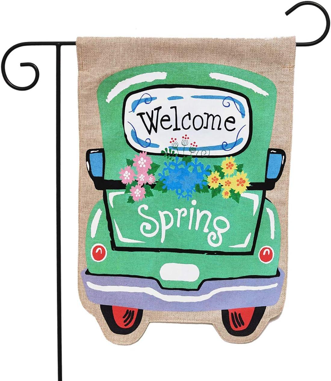 Briarwood Lane Welcome Spring Truck Burlap Garden Flag 12.5