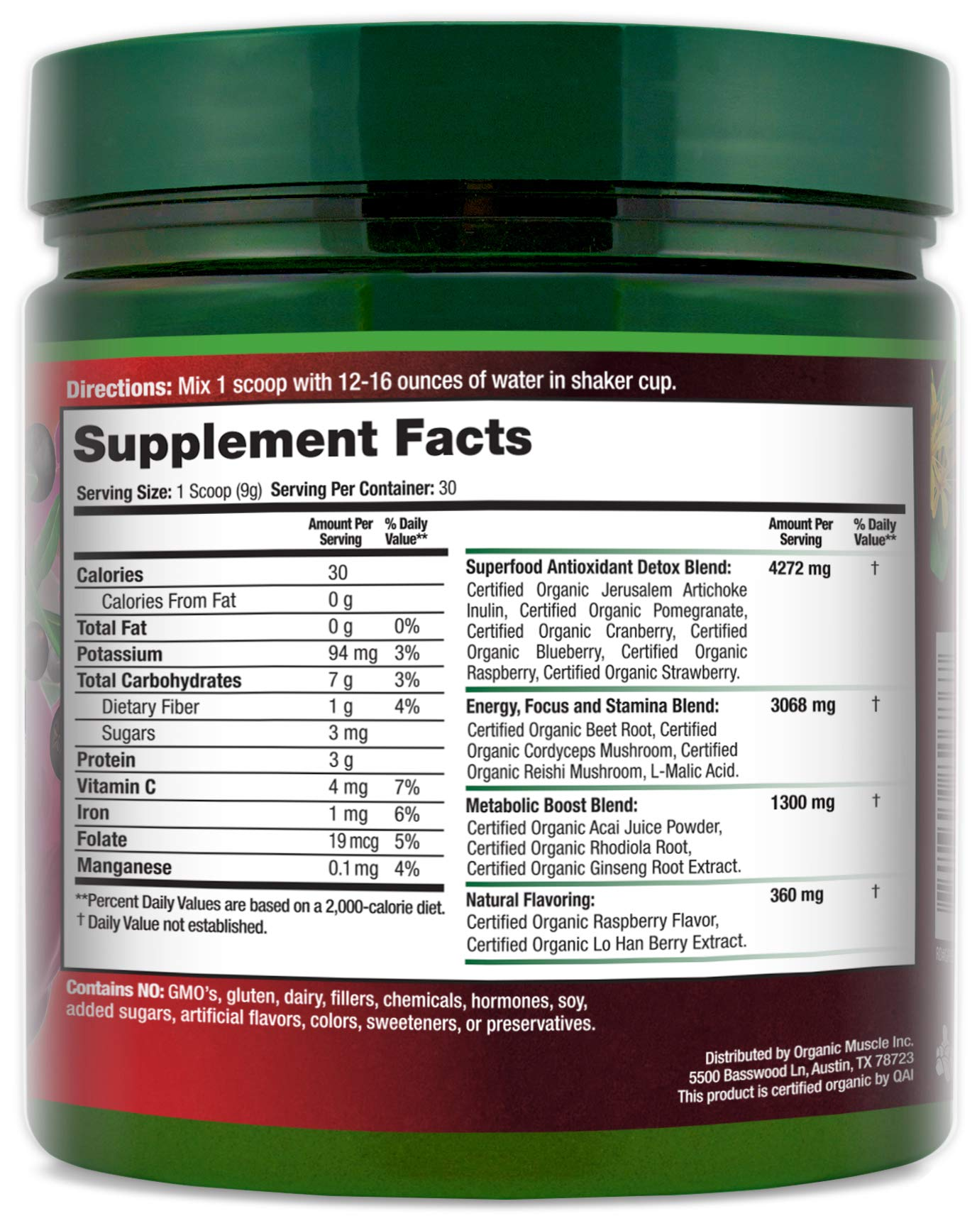 Certified Organic Superfood Reds Powder | Vital Reds Juice Supplement for Detox, Energy, Focus, Digestion, Metabolic Boost & Anti-Aging | Vegan, Non-GMO, Berry Flavor, 30 Day Supply | ORGANIC MUSCLE by Organic Muscle (Image #2)