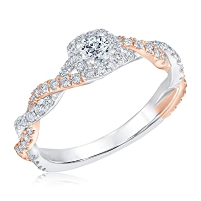 0e5dd425d5f0df Ellaura Blush Two-Tone Twisted Band Diamond Halo Engagement Ring 3 4ctw -  Size