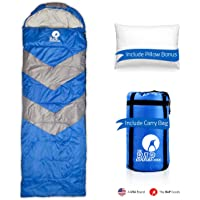 Sleeping Bag Outdoor Camping Extra Wide - Bonus Pillow - for Men Women & Adults 210T Ripstop Compact Envelope Sleeping Bag - Ideal for All Year Long–Available in Two Colors and Different Thickness