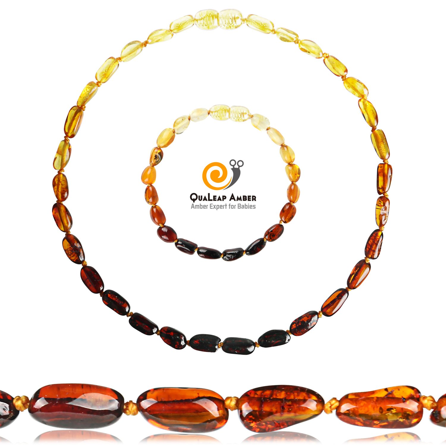 Baltic Amber Teething Necklace + Amber Teething Bracelet Set for Baby, 100% Authentic Baltic Amber Necklace and Amber Teething Anklet for Infant & Toddler (Unisex - Rainbow - 12.5 Inches / 5.5 Inches)