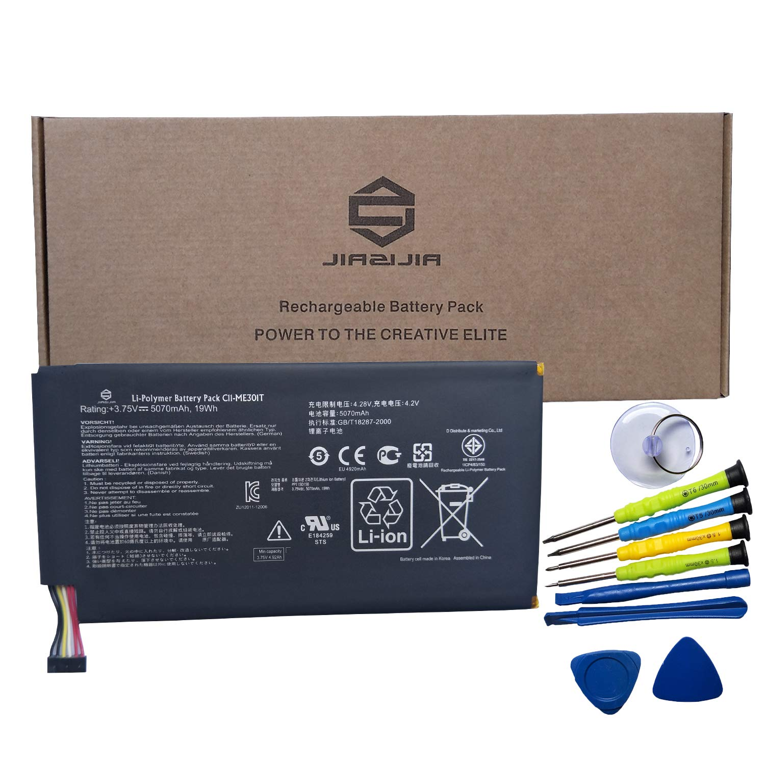 JIAZIJIA C11-ME301T Laptop Battery Replacement for Asus Memo Pad Smart K001 10.1 inch Tablet Series Notebook ME3PY23 with Tools Black 3.75V 19Wh 5070mAh