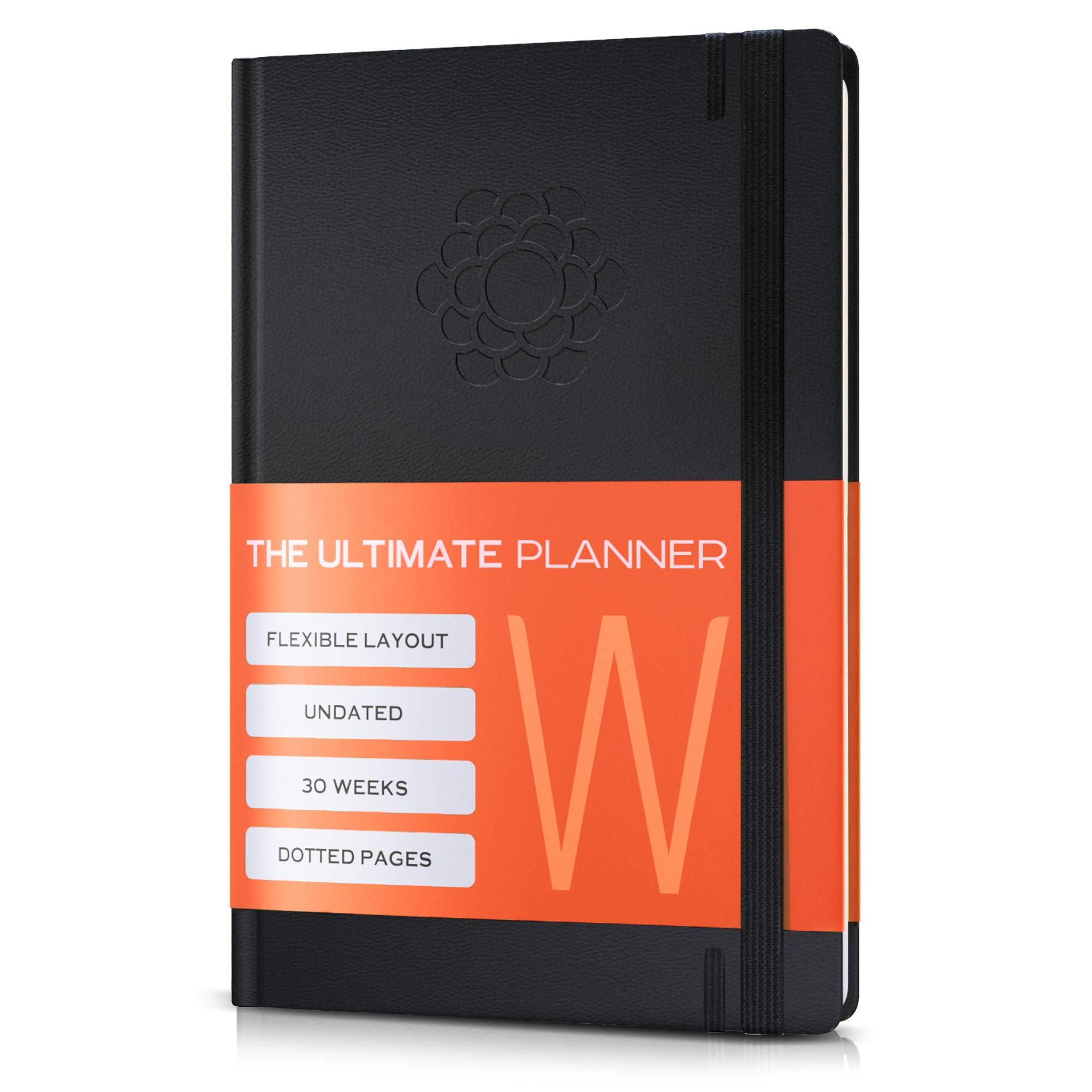 Undated 2019 Planner w/Pen Holder | Daily, Weekly, Monthly Personal Organizer | Improve Productivity, Organization | Work and Academic Goal Journal | Blank Dotted Pages
