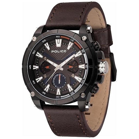Police Reloj Multiesfera para Hombre de Cuarzo con Correa en Cuero PL14832JSB.02: Amazon.es: Relojes
