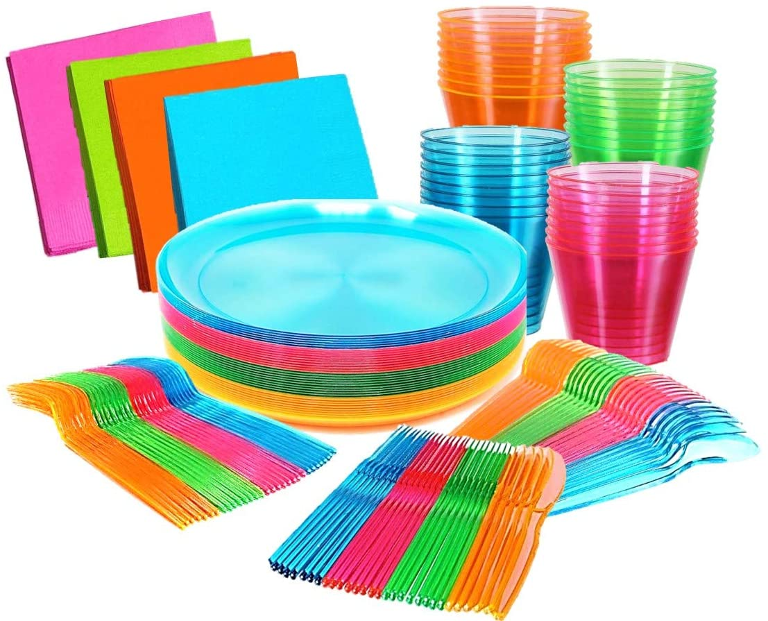 Bright Neon Party Supplies Set - Serves 32 Guest, Includes Plates, Cups Tumblers 9 Oz, Cutlery, Forks Knifes and Spoons and Napkins, 32 Of Each. Glow In the Dark Party Blacklight UV Parties.
