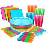 "Glow Neon Party Supplies - Serves 32 guests, Hard Plastic & Disposable Neon Plates 9"", Cups Tumblers 9 Oz, Cutlery - Forks, K"